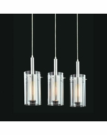 4396.57 Sonneman Zylinder Contemporary 3-Light Rectangle Pendant with Black & Chrome Finish