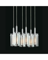 4398.57 Sonneman Zylinder Contemporary 6-Light Rectangle Pendant with Black & Chrome Finish