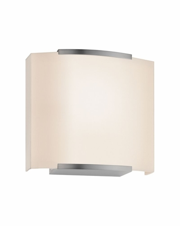 4413.13 Sonneman Wave Shade Contemporary ADA Wide Wall Sconce with Satin Nickel Finish