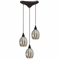 46007/3 ELK Lighting Danica 3-Light Triangular Pendant Fixture in Oiled Bronze with Mercury Glass