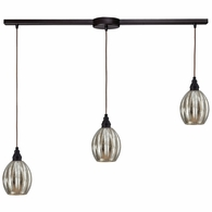 46007/3L ELK Lighting Danica 3-Light Linear Pendant Fixture in Oiled Bronze with Mercury Glass