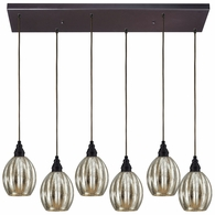 46007/6RC ELK Lighting Danica 6-Light Rectangular Pendant Fixture in Oiled Bronze with Mercury Glass