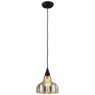 46008/1 ELK Lighting Danica 1-Light Mini Pendant in Oiled Bronze with Mercury Glass
