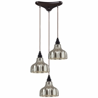 46008/3 ELK Lighting Danica 3-Light Triangular Pendant Fixture in Oiled Bronze with Mercury Glass