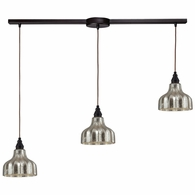 46008/3L ELK Lighting Danica 3-Light Linear Pendant Fixture in Oiled Bronze with Mercury Glass