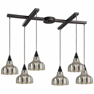 46008/6 ELK Lighting Danica 6-Light H-Bar Pendant Fixture in Oiled Bronze with Mercury Glass