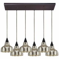 46008/6RC ELK Lighting Danica 6-Light Rectangular Pendant Fixture in Oiled Bronze with Mercury Glass