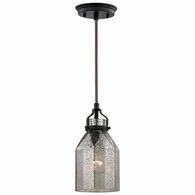 46009/1 ELK Lighting Danica 1-Light Mini Pendant in Oil Rubbed Bronze with Mercury Glass