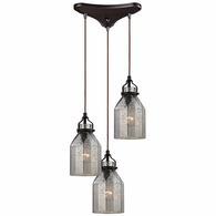 46009/3 ELK Lighting Danica 3-Light Triangular Pendant Fixture in Oil Rubbed Bronze with Mercury Glass