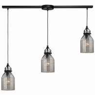 46009/3L ELK Lighting Danica 3-Light Linear Pendant Fixture in Oil Rubbed Bronze with Mercury Glass