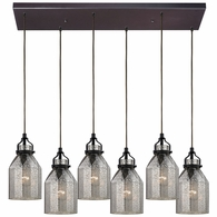 46009/6RC ELK Lighting Danica 6-Light Rectangular Pendant Fixture in Oil Rubbed Bronze with Mercury Glass
