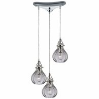 46014/3 ELK Lighting Danica 3-Light Triangular Pendant Fixture in Polished Chrome with Clear Glass