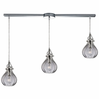 46014/3L ELK Lighting Danica 3-Light Linear Pendant Fixture in Polished Chrome with Clear Glass