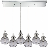 46014/6RC ELK Lighting Danica 6-Light Rectangular Pendant Fixture in Polished Chrome with Clear Glass