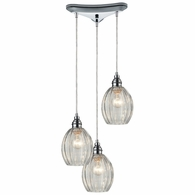 46017/3 ELK Lighting Danica 3-Light Triangular Pendant Fixture in Polished Chrome with Clear Glass