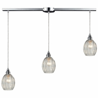 46017/3L ELK Lighting Danica 3-Light Linear Pendant Fixture in Polished Chrome with Clear Glass