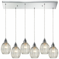 46017/6RC ELK Lighting Danica 6-Light Rectangular Pendant Fixture in Polished Chrome with Clear Glass