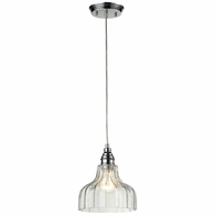 46018/1 ELK Lighting Danica 1-Light Mini Pendant in Polished Chrome with Clear Glass