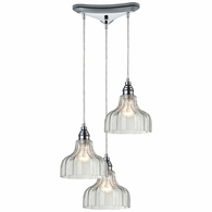 46018/3 ELK Lighting Danica 3-Light Triangular Pendant Fixture in Polished Chrome with Clear Glass