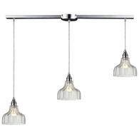 46018/3L ELK Lighting Danica 3-Light Linear Pendant Fixture in Polished Chrome with Clear Glass