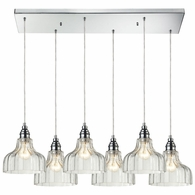 46018/6RC ELK Lighting Danica 6-Light Rectangular Pendant Fixture in Polished Chrome with Clear Glass