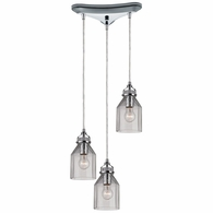 46019/3 ELK Lighting Danica 3-Light Triangular Pendant Fixture in Polished Chrome with Clear Glass