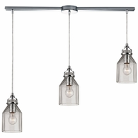 46019/3L ELK Lighting Danica 3-Light Linear Pendant Fixture in Polished Chrome with Clear Glass