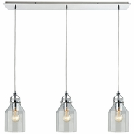 46019/3LP ELK Lighting Danica 3-Light Linear Mini Pendant Fixture in Polished Chrome with Clear Glass