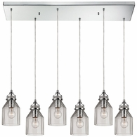 46019/6RC ELK Lighting Danica 6-Light Rectangular Pendant Fixture in Polished Chrome with Clear Glass