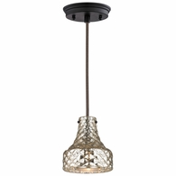 46023/1 ELK Lighting Danica 1-Light Mini Pendant in Oil Rubbed Bronze with Mercury Glass