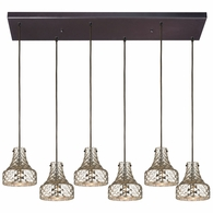 46023/6RC ELK Lighting Danica 6-Light Rectangular Pendant Fixture in Oil Rubbed Bronze with Mercury Glass