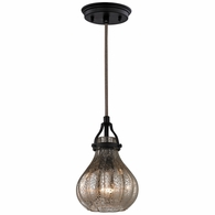 46024/1 ELK Lighting Danica 1-Light Mini Pendant in Oil Rubbed Bronze with Mercury Glass