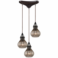 46024/3 ELK Lighting Danica 3-Light Triangular Pendant Fixture in Oil Rubbed Bronze with Mercury Glass