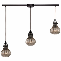 46024/3L ELK Lighting Danica 3-Light Linear Pendant Fixture in Oil Rubbed Bronze with Mercury Glass