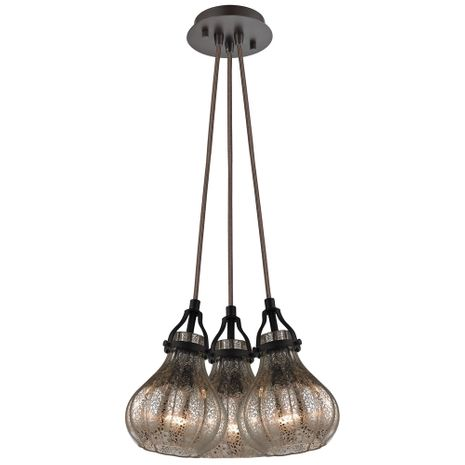 46024/3SR ELK Lighting Danica 3-Light Nesting Pendant Fixture in Oil Rubbed Bronze with Mercury Glass