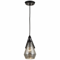 46172/1 ELK Lighting Duncan 1-Light Mini Pendant in Oil Rubbed Bronze with Smoked Crackle Glass