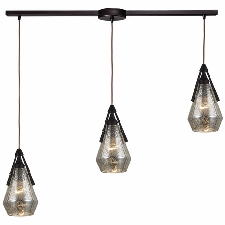 46172/3L ELK Lighting Duncan 3-Light Linear Pendant Fixture in Oil Rubbed Bronze with Smoked Crackle Glass