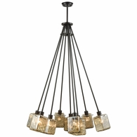 46183/9 ELK Lighting Watercube 9-Light Chandelier in Oil Rubbed Bronze with Teak Water Glass