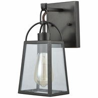46270/1 ELK Lighting Barnside 1-Light Vanity Lamp in Oil Rubbed Bronze with Clear Glass Panels