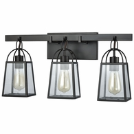 46272/3 ELK Lighting Barnside 3-Light Vanity Lamp in Oil Rubbed Bronze with Clear Glass Panels