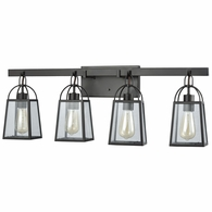 46273/4 ELK Lighting Barnside 4-Light Vanity Lamp in Oil Rubbed Bronze with Clear Glass Panels
