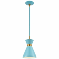 46523/1 ELK Lighting Modley 1-Light Mini Pendant in Pastel Blue with Metal