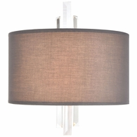 46590/2 ELK Lighting Crystal Falls 2-Light Sconce in Satin Nickel with Graphite Fabric Shade