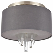 46591/2 ELK Lighting Crystal Falls 2-Light Flush Mount in Satin Nickel with Graphite Fabric Shade