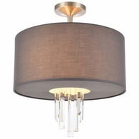 46592/3 ELK Lighting Crystal Falls 3-Light Semi Flush Mount in Satin Nickel with Graphite Fabric Shade