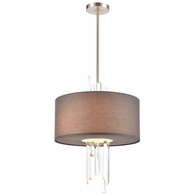 46593/3 ELK Lighting Crystal Falls 3-Light Chandelier in Satin Nickel with Graphite Fabric Shade