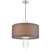 46594/3 ELK Lighting Crystal Falls 3-Light Chandelier in Satin Nickel with Graphite Fabric Shade