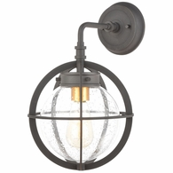 46730/1 ELK Lighting Davenport 1-Light Sconce in Charcoal with Seedy Glass