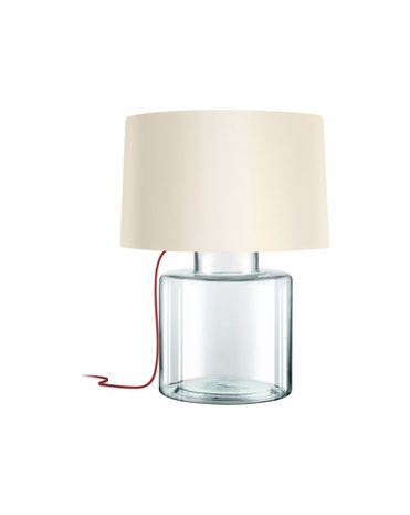 4770.87R Sonneman Grasso Contemporary Table Lamp with Clear Glass with Red Silk Cord