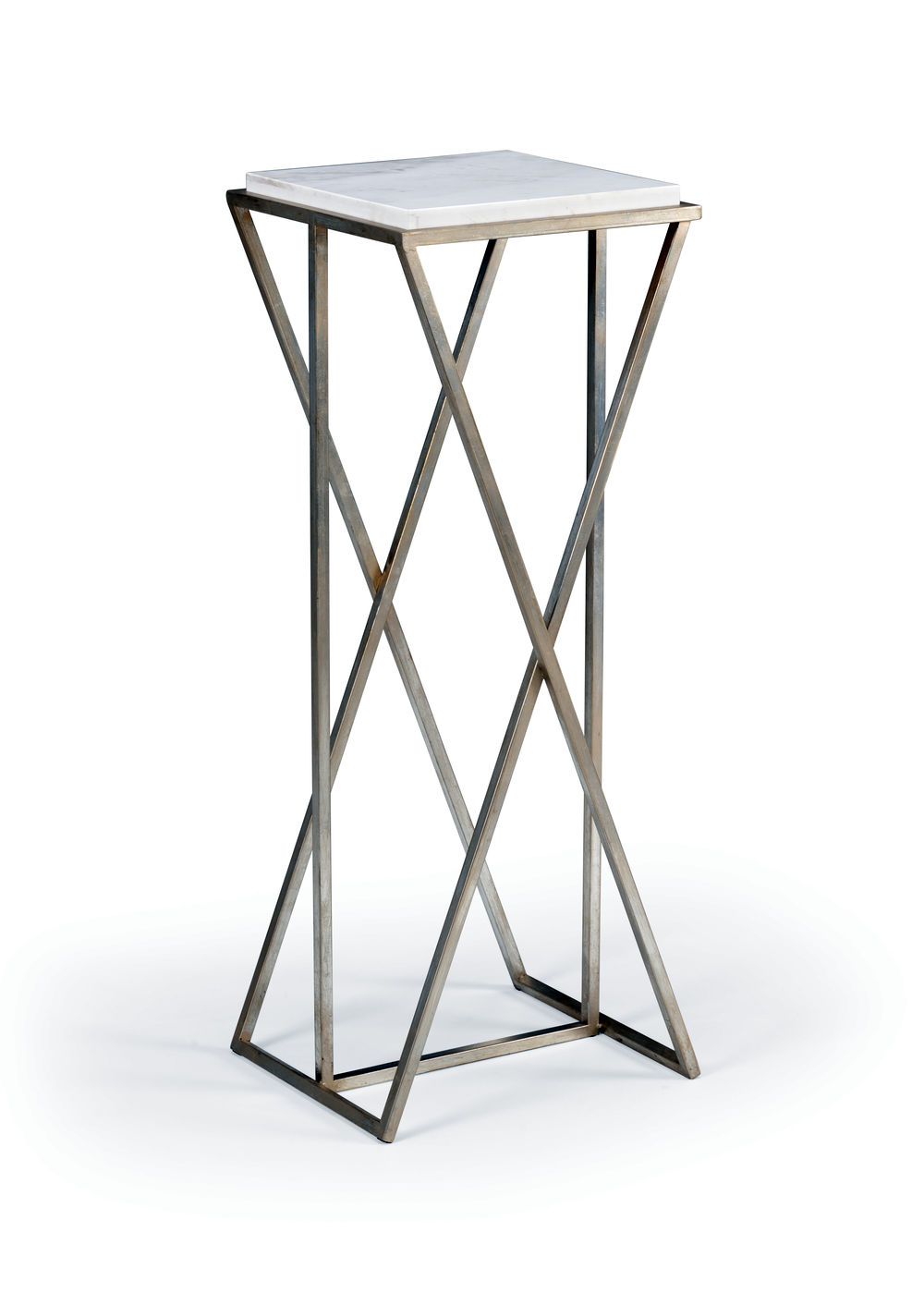 490207 Wildwood Marble Natural White Malcolm Pedestal - Silver